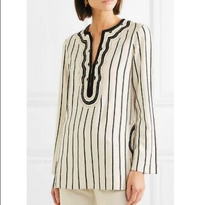 Tory Burch 6 Filipa Tunic Ivory & Black 3/4 sleeve